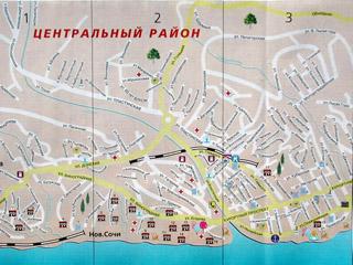 Карта Сочи: центральный район.